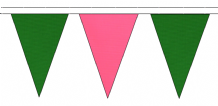 MID GREEN AND PINK TRIANGULAR BUNTING - 10m / 20m / 50m LENGTHS